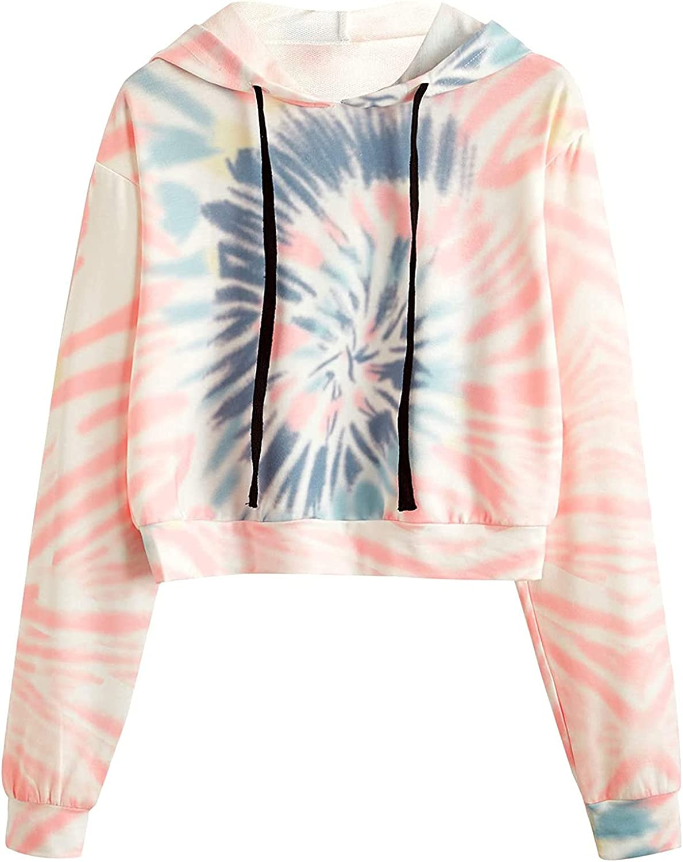 felwors Womens Crop Tops Hoodies, Womens Long Sleeve Workout Pullover Tops Casual Loose Tie Dye Sweatshirt Hoodies