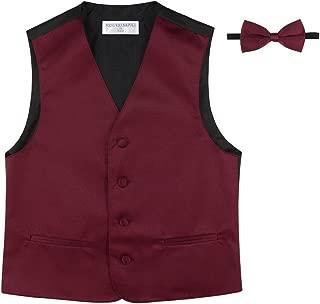 BOY'S Dress Vest & BOW Tie Solid BURGUNDY Color BowTie Set