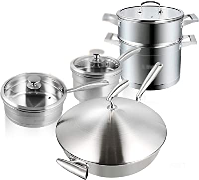 Amazon.com: Deik - Juego de ollas y sartenes de acero ...