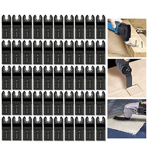Diagtree 50 pcs Wood Oscillating Multitool Saw Blade Set Fits Fein Multimaster Porter Cable Black & Decker Bosch Dremel Craftsman Ridgid Ryobi Makita Milwaukee Dewalt Rockwell