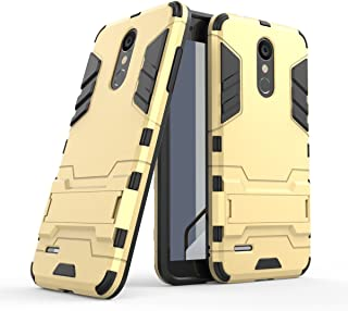 LG Aristo 2 Plus Case,LG Aristo 2/Tribute Dynasty/Zone 4/Fortune 2/Risio 3 Case, Hybrid Armor Case [2 in 1] Lightweight Hard PC Cover + Flexible TPU Protective with Kickstand for LG K8 2018 - Gold