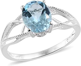 925 Sterling Silver Oval Sky Blue Topaz Statement Ring for Women Cttw 2.5 Jewelry Gift