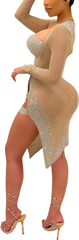 Womens Sexy Plus Size Long Sleeve Rhinestone Mesh See Through Bodycon Party Club Midi Dress Clubwear