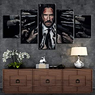 sasdasld Modern HD Printed Wall Art Framework Canvas Pictures 5 Pieces John Wick Painting Poster Home Decoration for Living Room Artworks-10CMx15/20/25CM