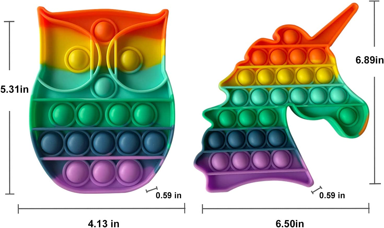 LEDAOU 2PCS Fidget Toys Push Popping Bubble Sensory Fidget Toy Autism Special Needs Stress Reliever for Kids,Family Pink Unicorn /& Green Dinosaur