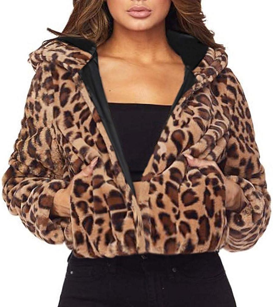 UK Women/'s Ladies Winter Faux Fur Leopard Print Warm Jacket Hooded Coat Fashion
