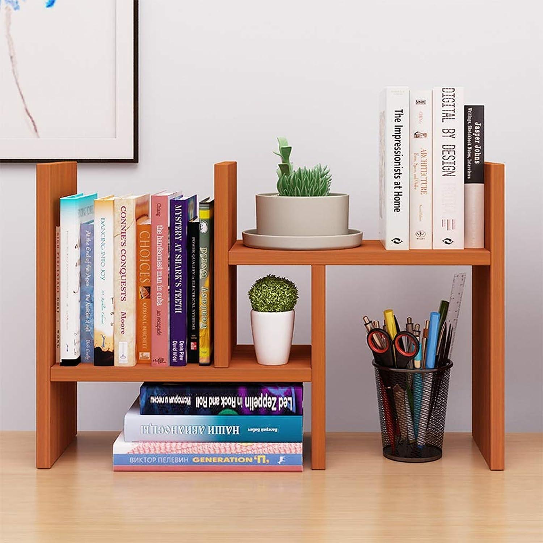 CXQ Modern Minimalist Bookshelf Solid Wood Shelf Office Desktop Storage Rack Creative Student Desktop Bookshelf Teak color Bookcase