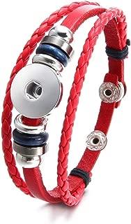Royalbeier Snap Charms Bracelet Boho Snap Button Wrap Bracelet Cuffs Multi Strand Leather Bracelet Set for Men Women
