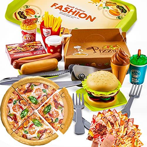 LINFUN KIDS Set Gioco Pizza Hamburger Cucina Cibo per Giocattolo Bambini Finti Alimenti Giocattolo Regalo per Bambini Bambina 3+ Anni