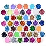 QIMEIYA 45 couleur poudre paillettes ongles chips nail art glitter deco acrylique poussière pour manucure gel (1g Jar)