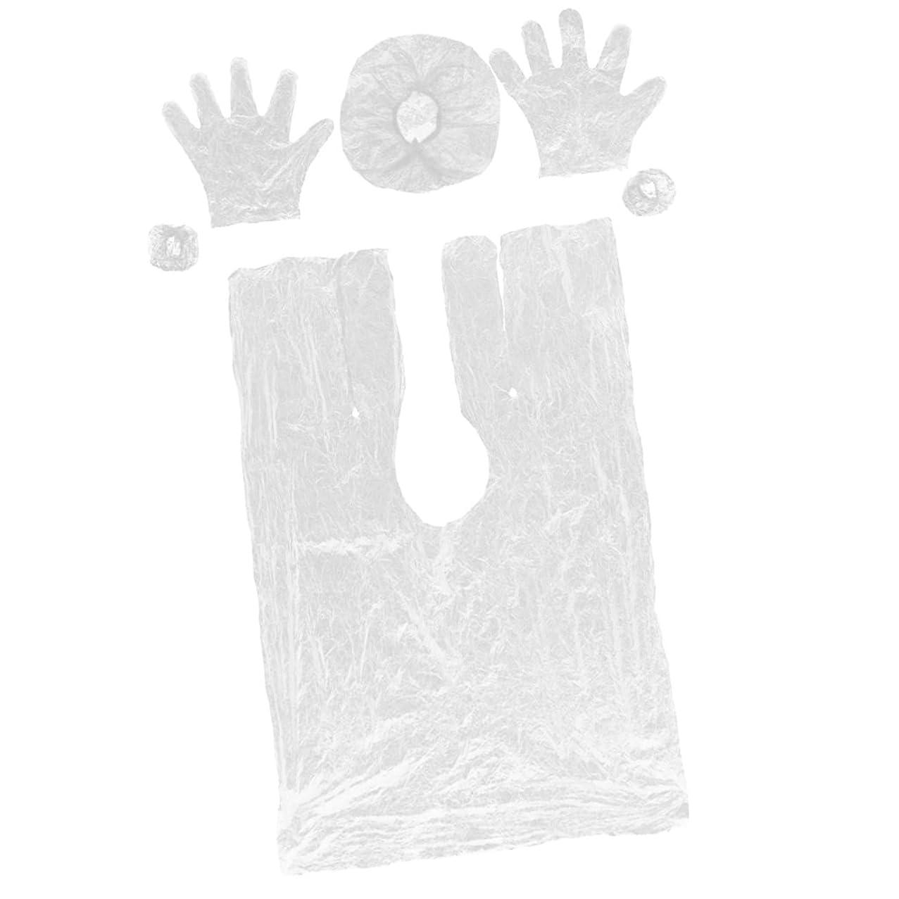 邪悪な後ろ、背後、背面(部耐えるPerfk 使い捨て ヘアケア サロン プロ 自宅用 弾性キャップ サロンケープ  手袋 耳栓 プラスチック製