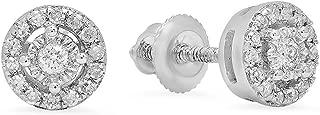 0.20 Carat (ctw) 10K Gold Round White Diamond Ladies Cluster Halo Style Stud Earrings 1/5 CT