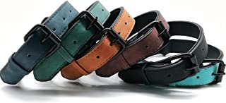 Mycicy Leather Dog Collar, Heavy Duty Adjustable Pet Collar for Puppy Small Medium Large 6 Colors Neck Size 11-23