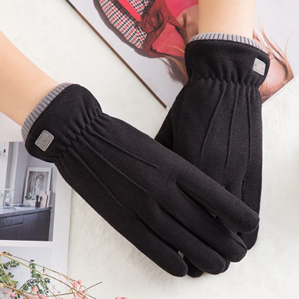GHCXY Gloves,Winter Female Lace Warm Three Ribs Cute Bear Mittens Double Thick Wrist Women Touch Screen Driving,D