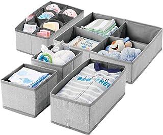 mDesign Juego de 5 cajas de almacenaje con dibujo de espiga para habitación infantil – Cestas de tela para bebé con múltiples compartimentos – Organizadores de cajones y armarios en tela – gris