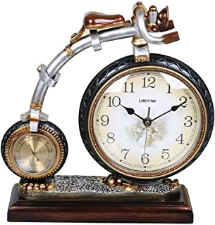 デスククロックファミリークロック自転車置時計、樹脂製レトロミュート装飾ベッドルームベッドサイドデコレーションリビングルームのベッドルームに最適オフィス(色:ブロンズ)