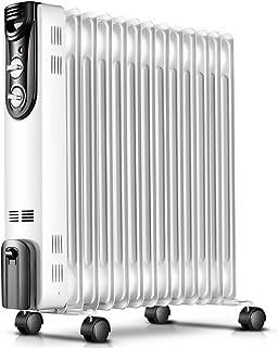 Mfun-Fan Radiador Lleno de Aceite mecánico Blanco, termostato de habitación eléctrico portátil con Calentador, Ahorro de energía 2000W (11 Placas calefactoras)