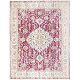 ReaLife Machine Washable Rug - Stain Resistant, Non-Shed - Eco-Friendly, Non-Slip, Family & Pet Friendly - Made from Premium Recycled Fibers - Persian Distressed - Pink, 5' x 7'