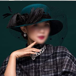 YANGBM Women's Wool Felt Hat, Mesh Bow Banquet Hat, Breathable is Not Hot and Not Easy to Deform (Color : Blue)