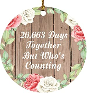 73rd Anniversary 26,663 Days Together Who's Counting - Circle Wood Ornament B Christmas Tree Hanging Decor - for Wife Husb...