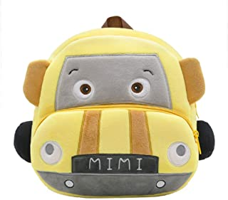 Toddler Backpack Bag 3D Mini Cars Plush Toys Preschool Bag Cartoon Kids Backpacks for 1-4 Years Old Girls and Boys Outdoor (Color : Yellow)