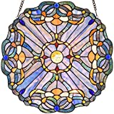 SIZE: 16-inches wide, round shape, 30-inches safety hooking chain included HANDMADE: This panel is handmade by skilled craftsmen; We hand-cut the glass pieces and assemble them into a panel, then the welder use tin solder to weld the glass pieces. Ea...