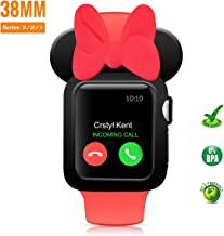 pipigo Cartoon Mouse Ears Watch Case Compatible Apple Watch Case 38MM Series 3/Series 2/Series 1 Sport/Edition/Nike iwatch Soft Silicone Protective Cover (Black&Red)