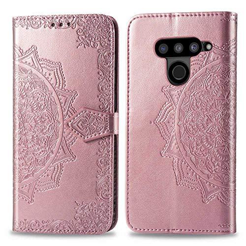 Bear Village Hülle für LG V50 ThinQ, PU Lederhülle Handyhülle für LG V50 ThinQ, Brieftasche Kratzfestes Magnet Handytasche mit Kartenfach, Roségold
