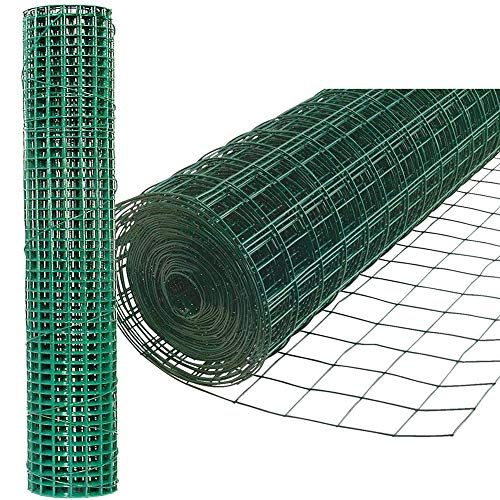 Chicken Wire Mesh, Aviary Fence 25mm Square Mesh PVC Coated Garden/House Netting Heavy Duty Reusable Nets Protect Rabbit Cat Dog Goose Cages/Coop Fencing Green 36inchesx30m