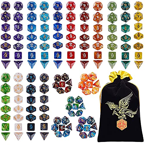 QMay DND Dice Sets - 20 X 7 Polyhedral Dice (140pcs) with a Large Drawstring Bag Great for Dungeons and Dragons.