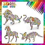 Juego de Rompecabezas de Colorear 3D, DIY Arts Crafts Puzzle Kit Regalo de Juguete, Regalos para niñas de 6 a 12 años, Regalo de Cumpleaños para niños (con 12 Rotuladores)