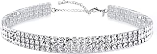 Daycindy 1-8 Rows Clear Rhinestone Choker Necklace for Women