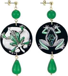 in Lebole Collezione The Circle DOR141 Gioiello Rana Orecchini da Donna in Ottone Pietra Verde