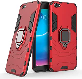 Compatible with VIVO Y66 Case, Metal Ring Grip Kickstand Shockproof Hard Bumper Shell (Works with Magnetic Car Mount) Dual Layer Rugged Cover for VIVO Y66 (Red)