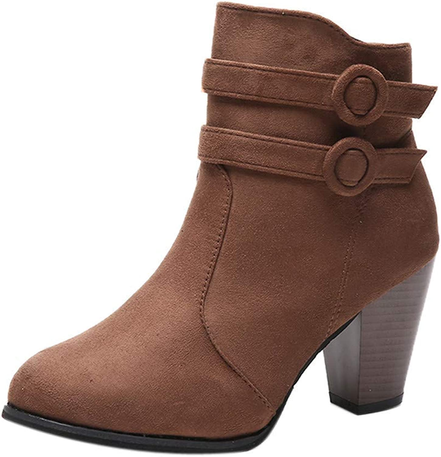 JaHGDU Women's Buckle Short Boots Knight Strong Heel Martin Boots shoes Ankle Boots Sneakers Synthetic Skin Suede Casual Fashion High Heel shoes