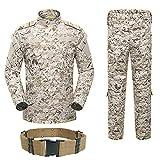 H mundo compra hombres táctico BDU Chaqueta de uniforme de combate Camisa y pantalones traje para ejército militar Airsoft Paintball caza juego de guerra (Digital desierto AOR1), Desierto digital