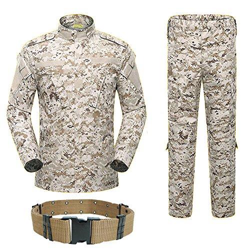 H World Shopping Hombres táctico BDU combate uniforme chaqueta camisa y pantalones traje para ejército militar airsoft paintball caza tiro juego de guerra desierto digital (AOR1 (M)