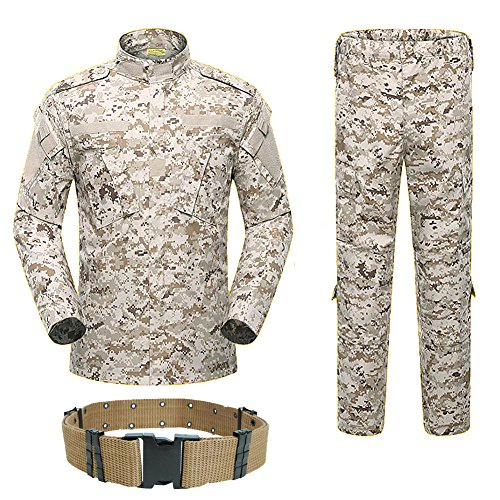 H World Shopping Men Tactical BDU Combat Uniform Jacket Shirt & Pants Suit for Army Military Airsoft Paintball Hunting Shooting War Game Desert Digital (AOR1 (M)