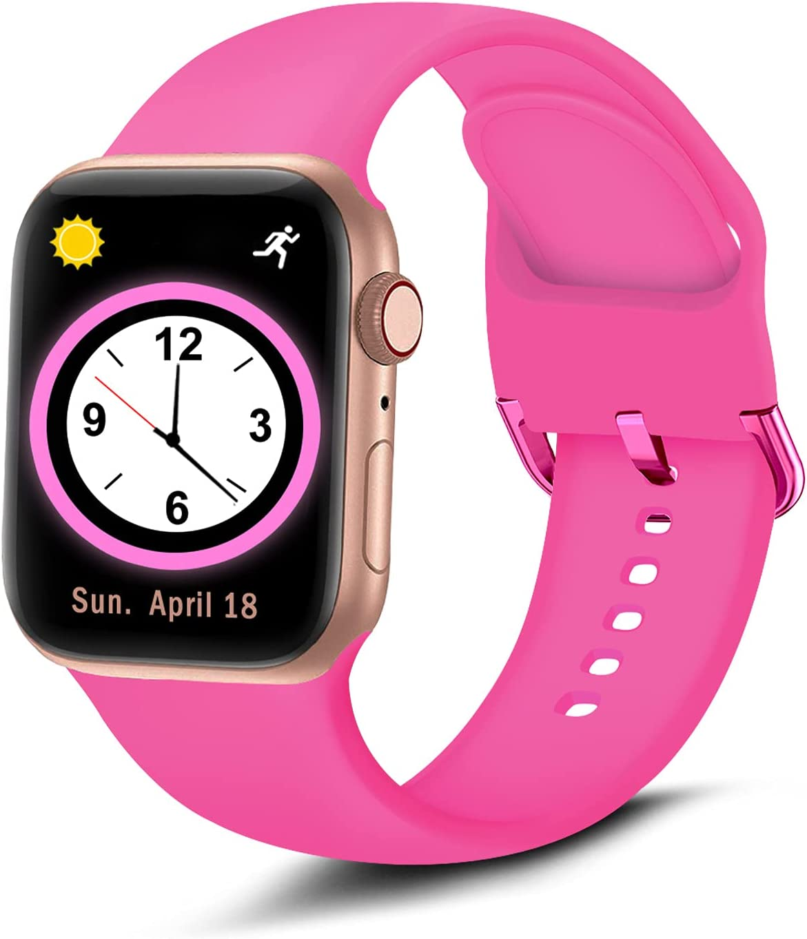 Brigtlaiff Compatible with Apple Watch Bands 38mm 40mm 42mm 44mm, Soft Silicone Sport Replacement Women Men Strap with Unique Colors Clasp for iWatch Series 6 5 4 3 2 1 SE - 42mm 44mm, Hot Pink