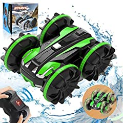 🚘 【AMPHIBIOUS DESIGN&WATERPROOF STUNT CAR】Amazing 4WD amphibious remote control car.Precision waterproof design!With drainage outlet to protect the inner accessory from water.You can play the rc car on land,water,or beach or anywhere you want!Remote ...