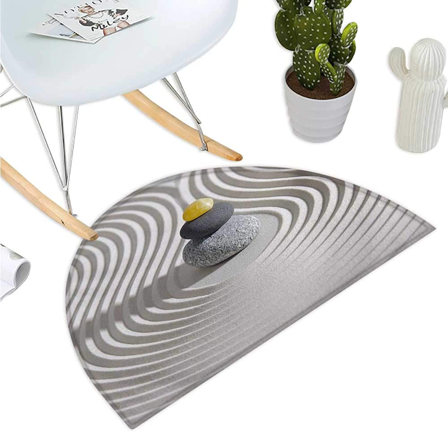 Spa Semicircular Cushion Three Hot Massage Stones in The Middle of The White Sand Shaped Waves Artwork Halfmoon doormats H 39.3  xD 59  Grey and Yellow