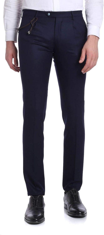 BERWICH Men's MILANOVB8996NAVY blueee Wool Pants