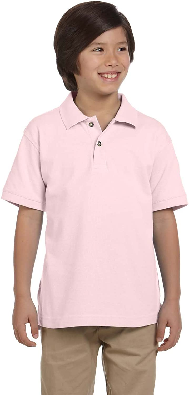 Harriton Youth Ringspun Pique Short-Sleeve Polo Shirt (Blush)