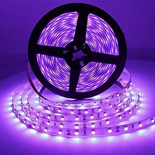 Solarlang UV Blacklight LED Strip kit, 24W, 16.4FT/5M, 300LEDs, 395nm-405nm, 12V Flexible Blacklight Ribbon, Non-Waterproo...