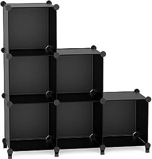 【Amazon.co.jp 限定】 チチロバ(TITIROBA) 本棚 収納棚 組み立て式 棚 ラック 大容量 整理棚収納 ボックス 衣類収納 スチール性 インテリア 簡単組立 おしゃれ 多用途 耐久性 省スペース ブラック 6ボックス ZW-02