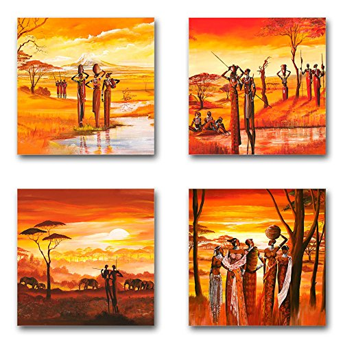 Mia Morro Afrika Bilder Set C, 4-teiliges Bilder-Set jedes Teil 29x29cm, Seidenmatte Optik auf Forex, Moderne schwebende Optik, UV-stabil, wasserfest, Kunstdruck für Büro, Wohnzimmer, XXL Deko Bild