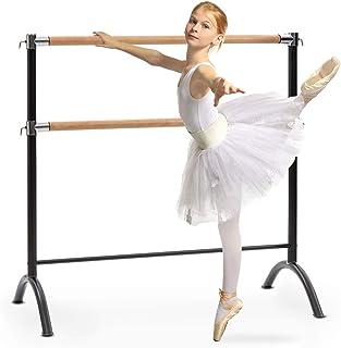 Klarfit Barre Anna - Barra Doble de Ballet, Estable, 110 x 113 cm, 2 x 38 mm de diámetro, Barras de Acero con Aspecto de padera, para Todo Tipo de estiramientos y Ejercicios de Ballet, Negro