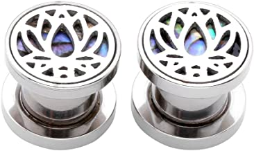 Jovivi 2-14pc Stainless Steel Lotus Natural Abalone Shell Screw Ear Gauges Tunnel Plugs Double Flared Stretcher 0G-3/4