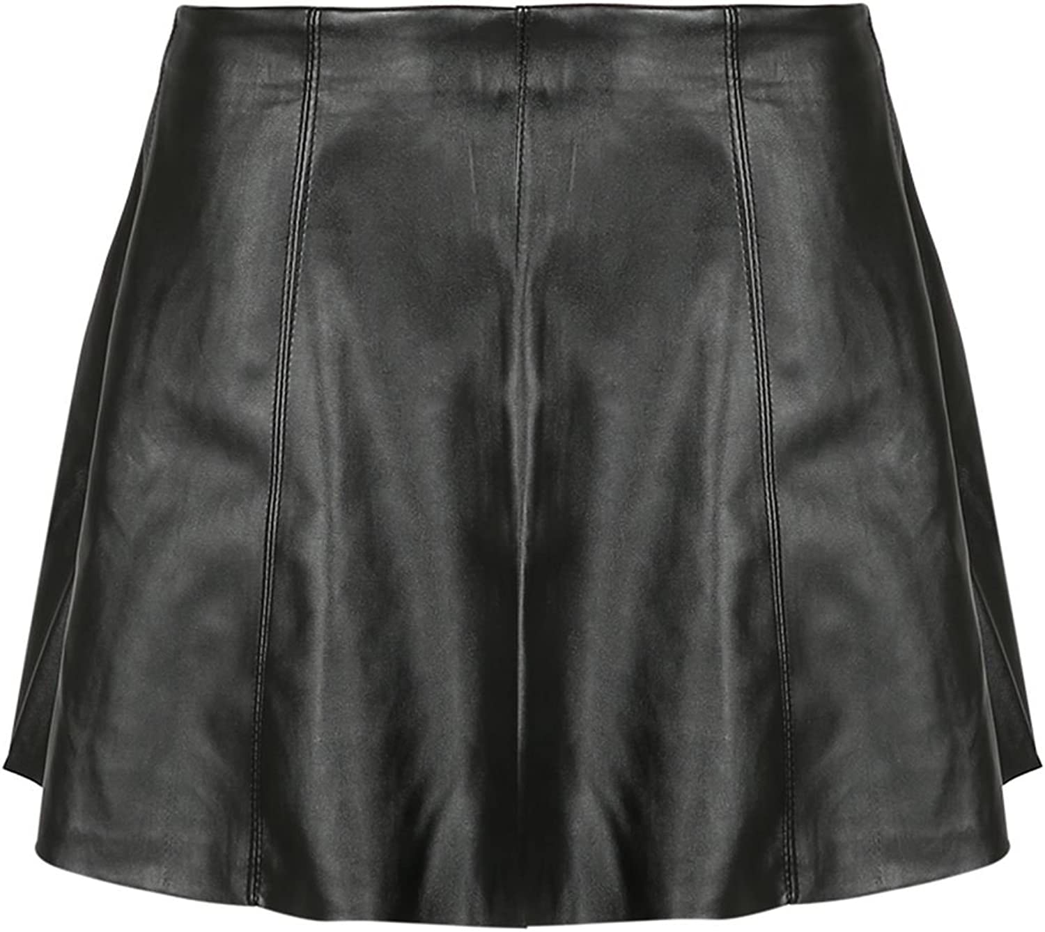 Be Jealous Womens High Waist Pleated A-Line Skater Faux Leather Stretchy Skirt
