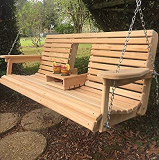 5 Ft Cypress Porch Swing with Flip Down Console Cup Holders & Unique Adjustable Seating Angle - Handmade in Louisiana